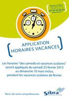 Affiche horaires vacances