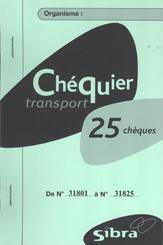 Chequier de 25 cheques transport scolaire