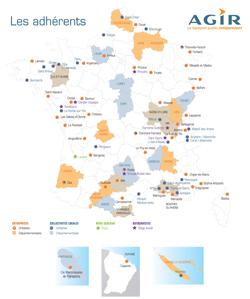 Carte de France du réseau AGIR dont SIBRA est membre