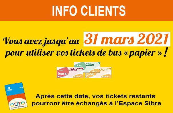 Fin des tickets papiers - 31 Mars 2021