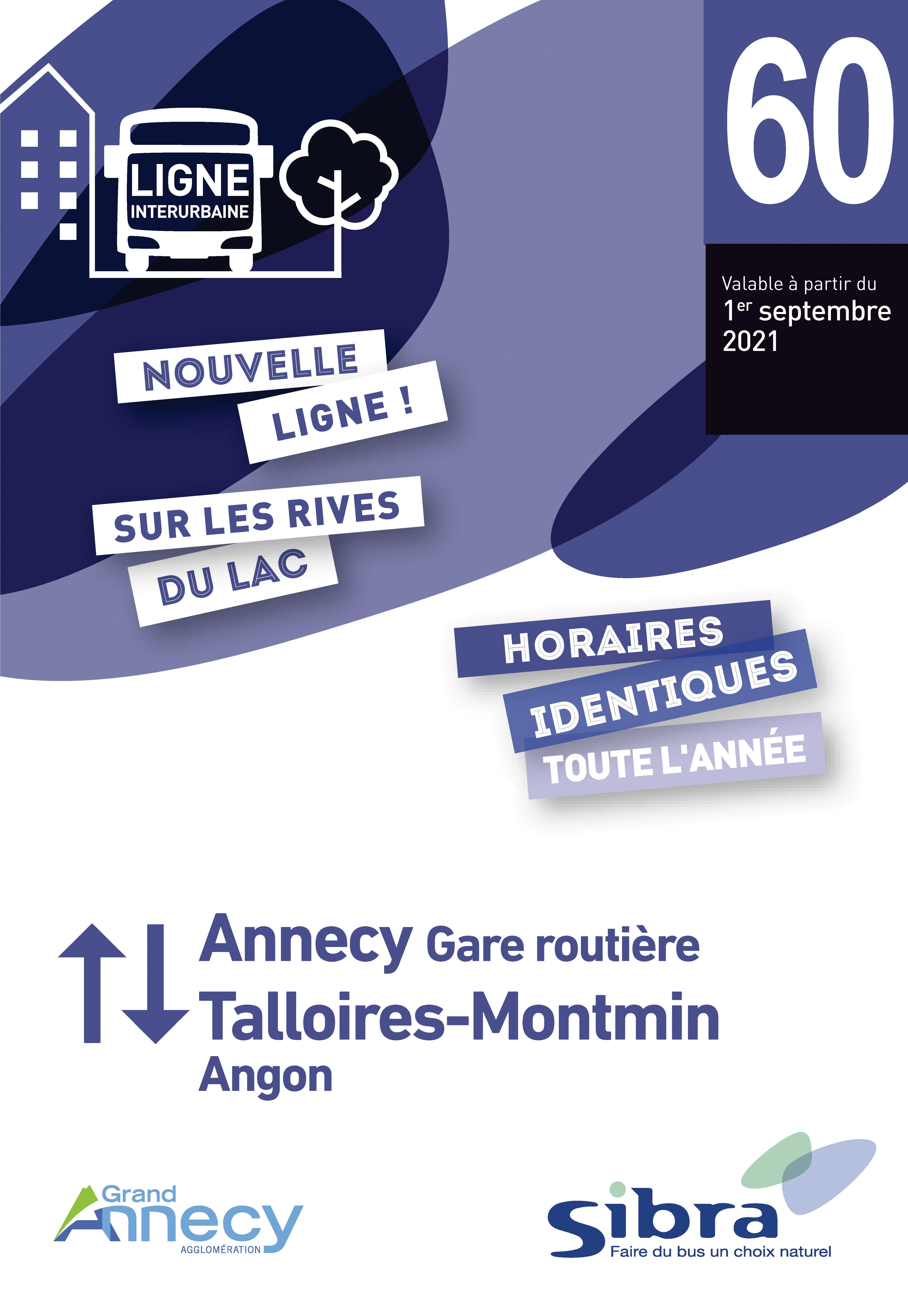 Couverture Fiche Horaire Ligne 60 - Août 2021