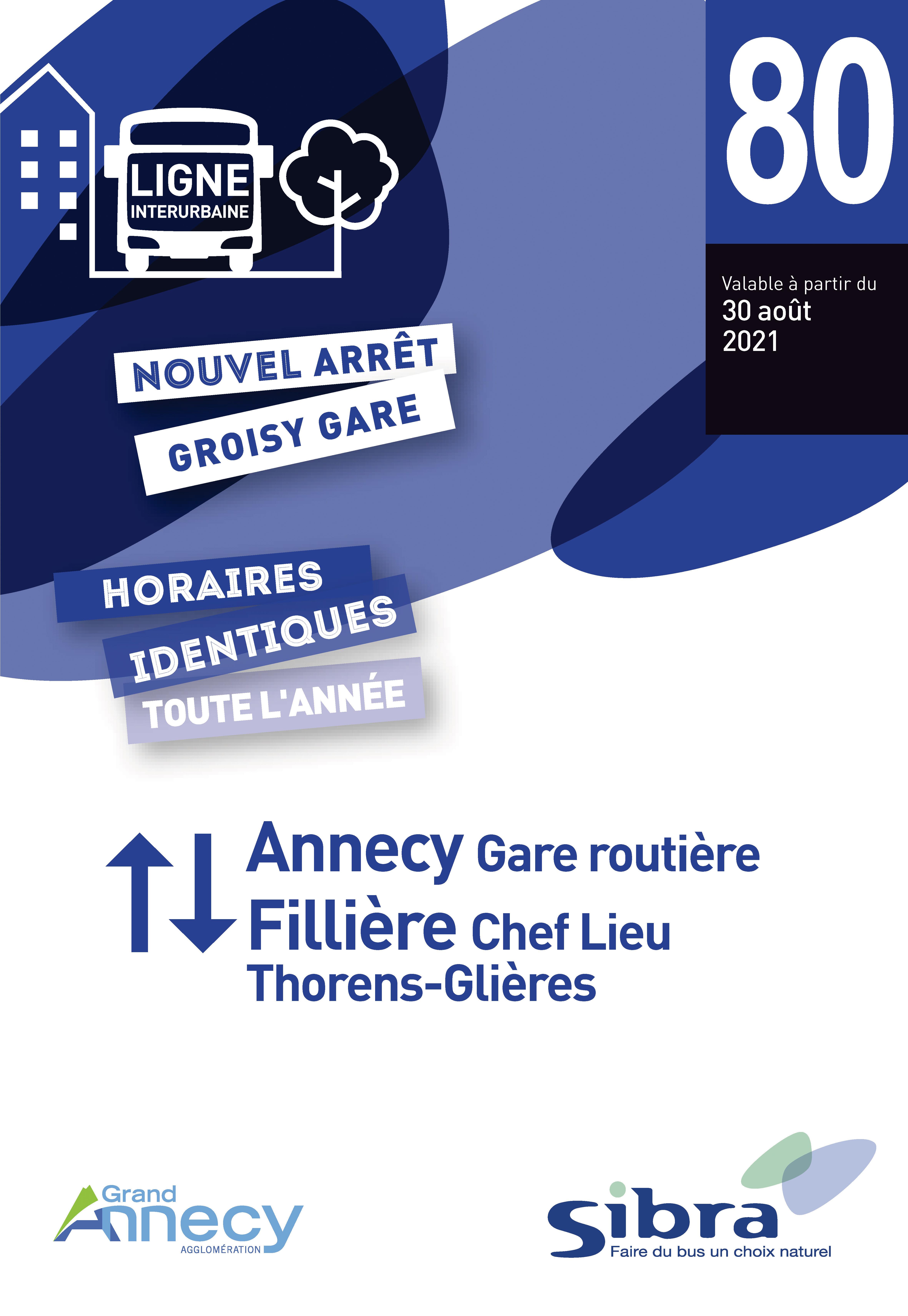 Couverture Fiche Horaire Ligne 80 - Août 2021