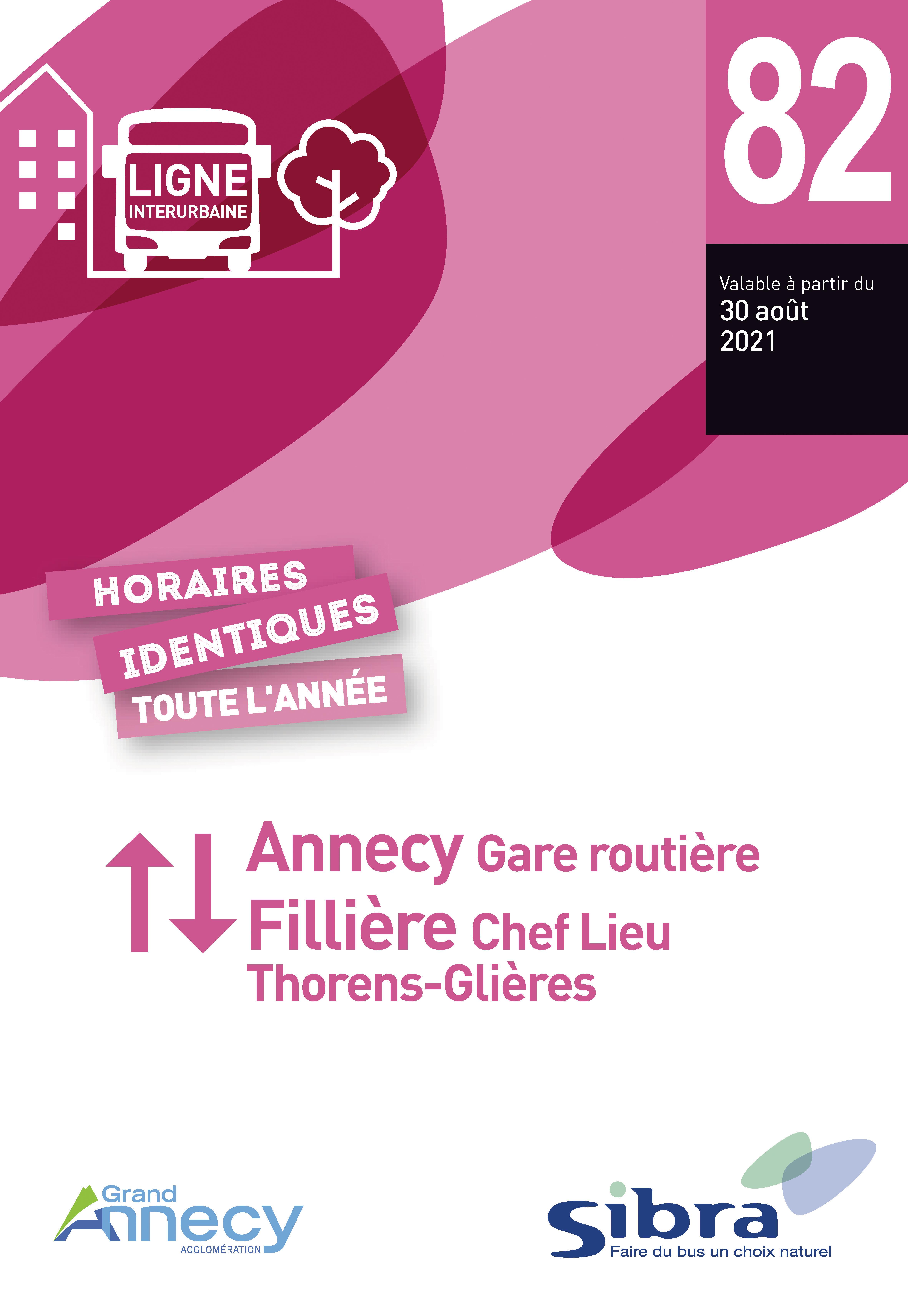 Couverture Fiche Horaire Ligne 82 - Août 2021