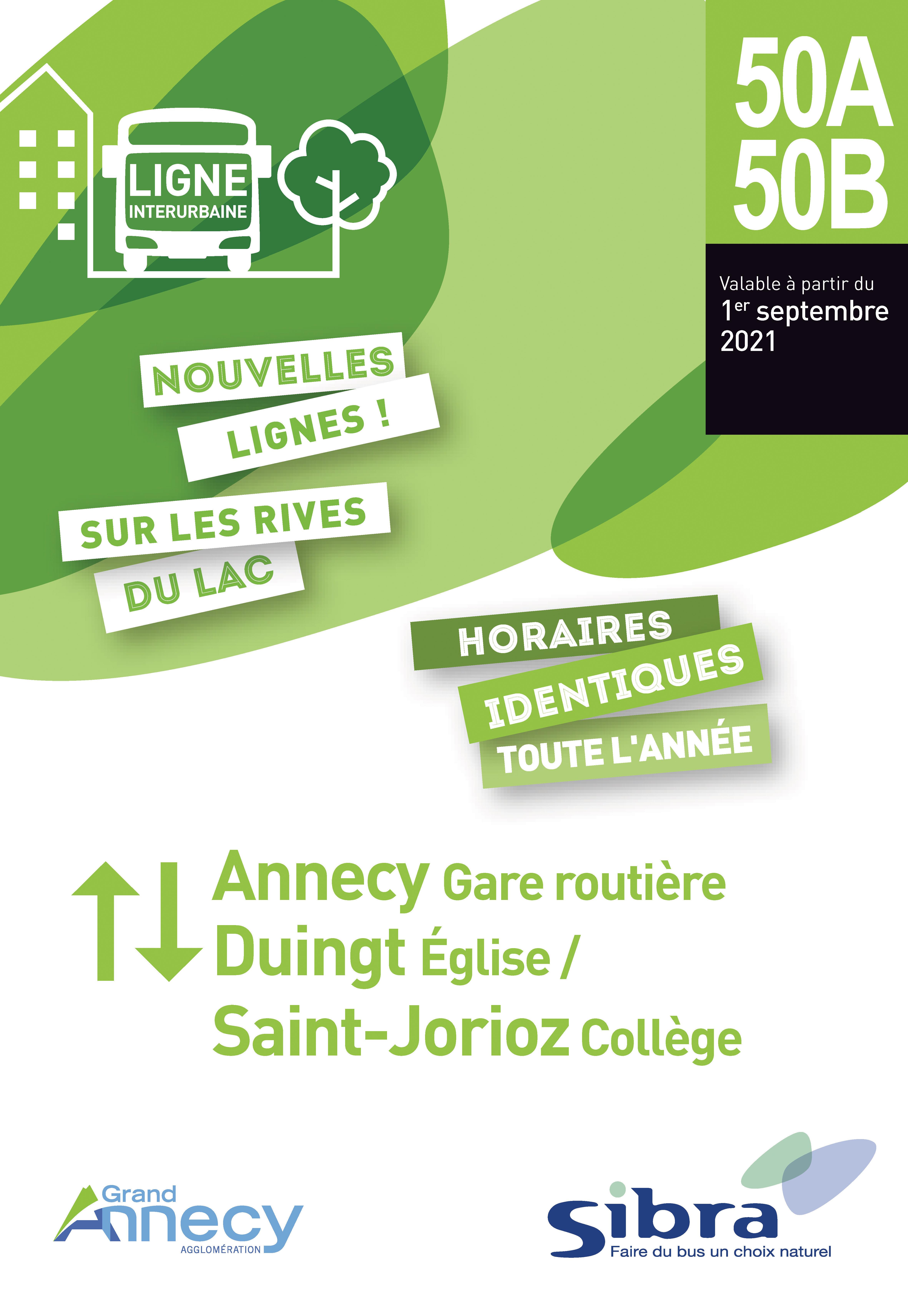 Couverture Fiche Horaire Lignes 50A/50B - Août 2021