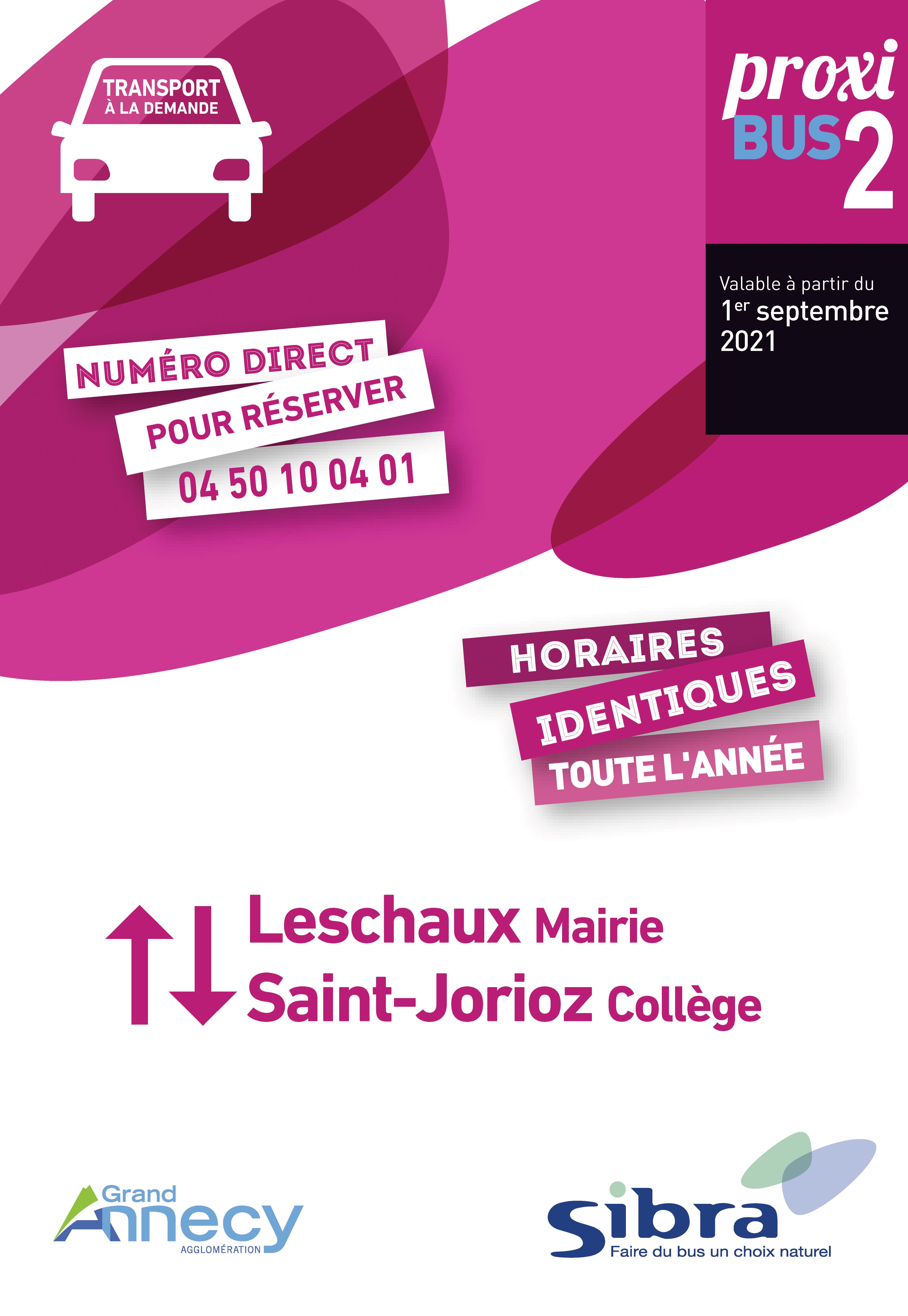 Couverture Fiche Horaire Proxibus2 - Août 2021