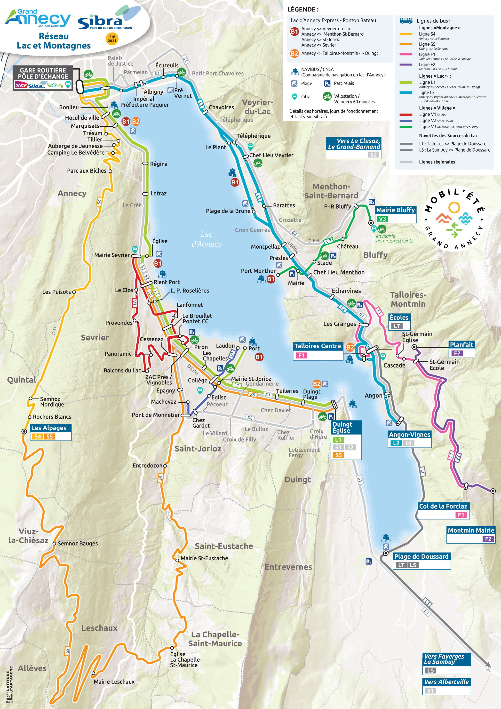Plan des Lignes Lac 2021