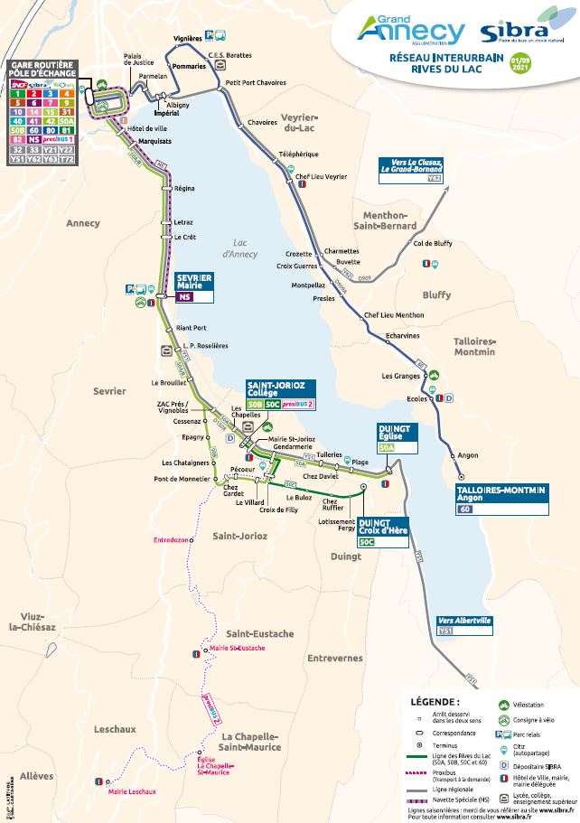Plan interurbain - Rives du Lac 2021