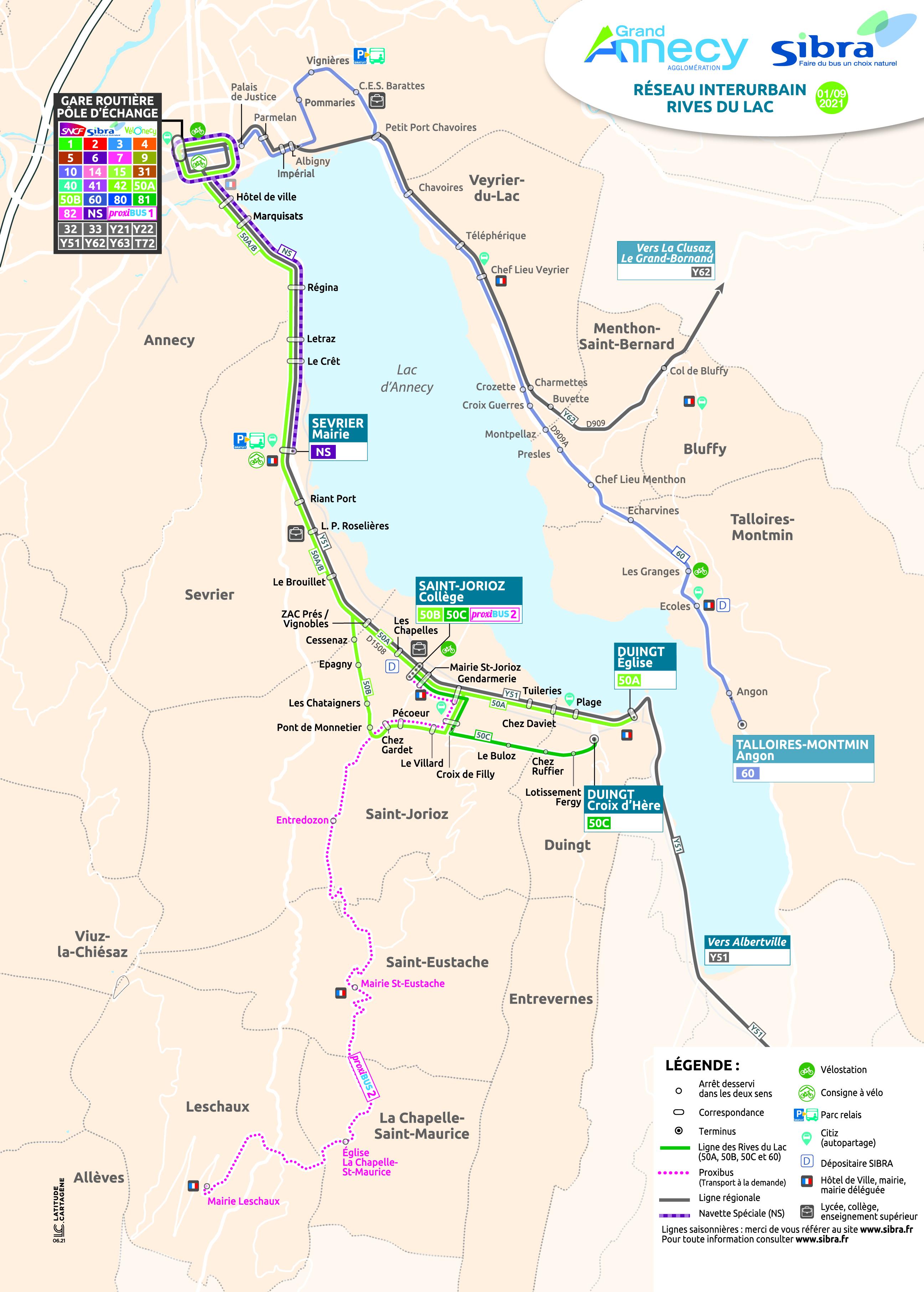 Plan lignes interurbaines - Rive Gauche 2021