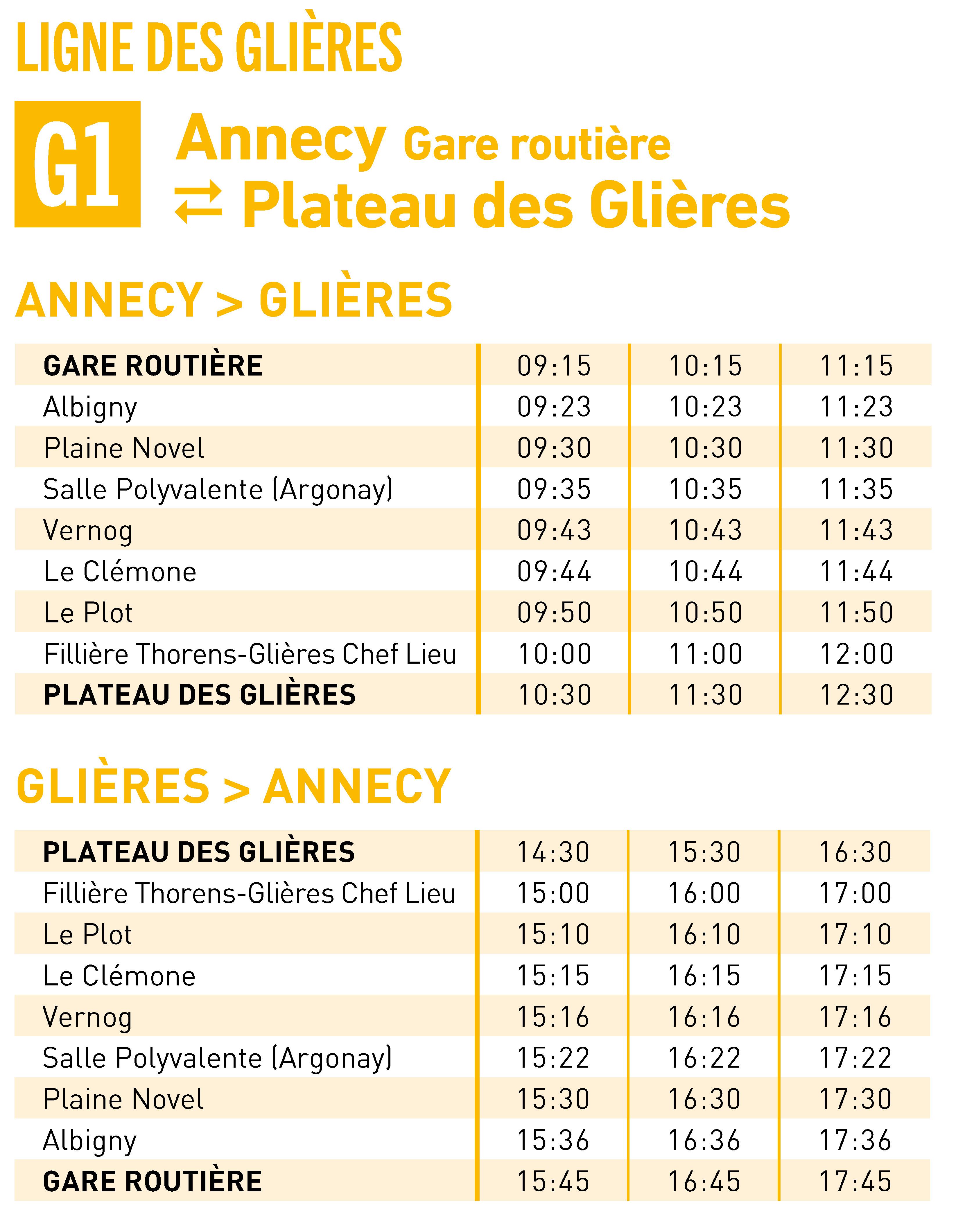 Horaires lignes G1 2020/2021