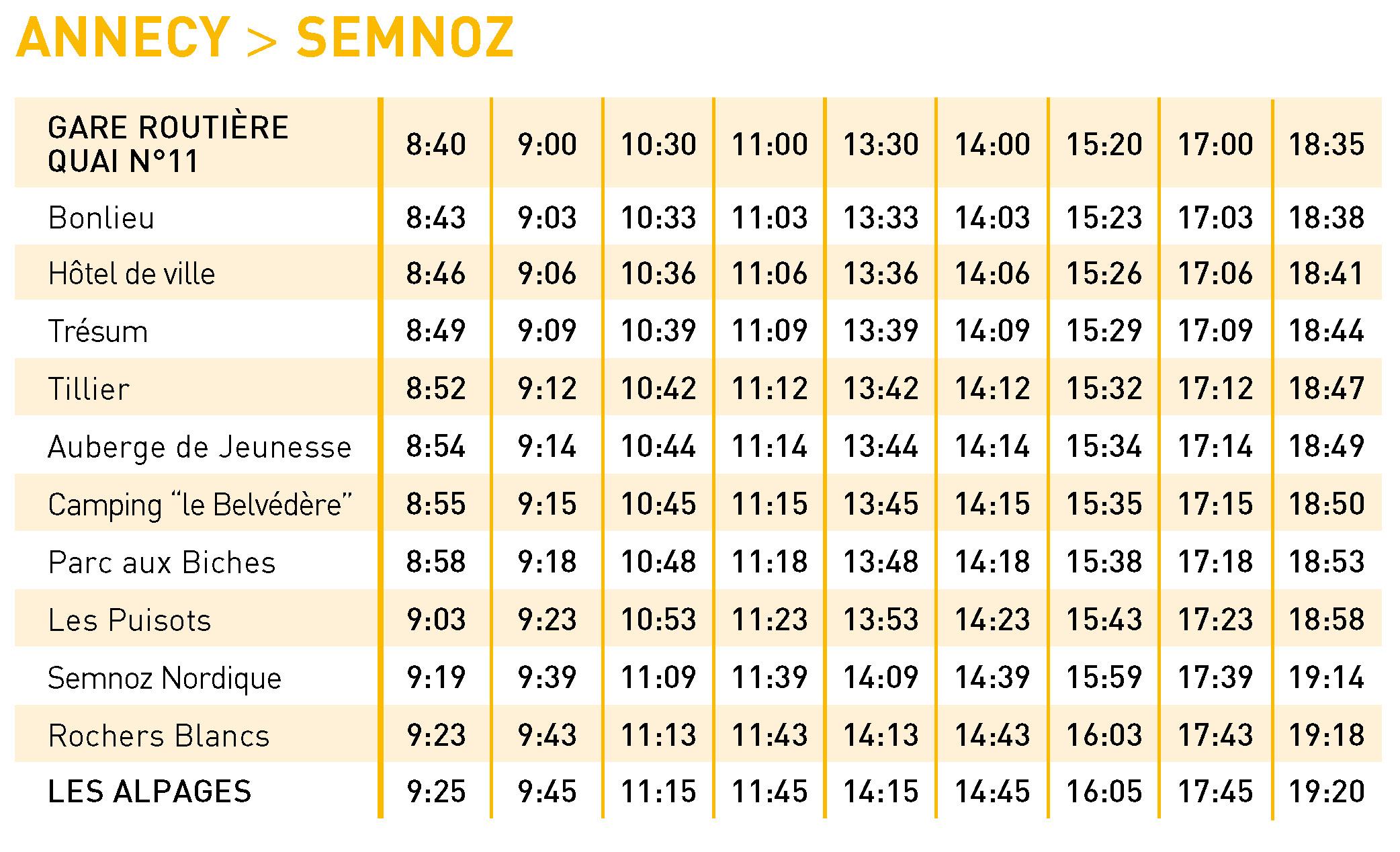 Grille horaire S4 Aller - 2021