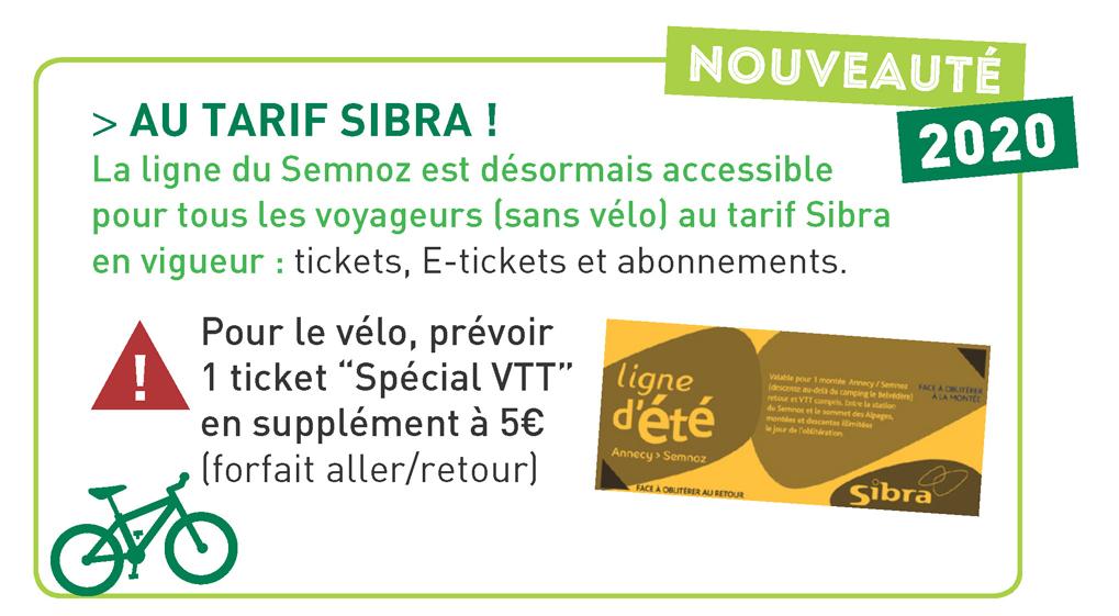 Tarif ticket spécial VTT 2020